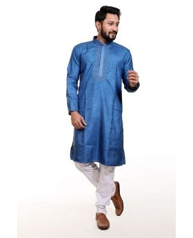 Indian Cotton Panjabi For EID - Steel Blue Neck Embroidery Work