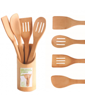 4 x Piece Bamboo Wooden Kitchen Cooking Utensils Set Tools Spatula Spoon Turner