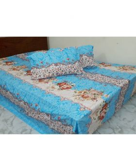 Double Size Cotton Bed Sheet with Pillow Covers