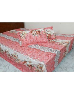 Double Size Cotton Bed Sheet with Matching 2 Pillow Covers