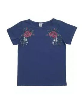 Navy Blue Color Half Sleeve Ladies T-shirt (Small Size)