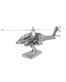 Apache Helicopter Metal 3D Puzzle - Silver