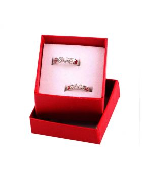 SILVER PLATED  2PCS FASHIONABLE COUPLE FINGER RING WITH AD STONE WORK