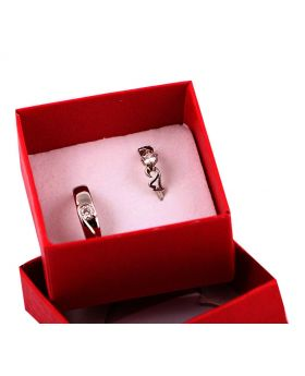 GORGEOUS SILVER PLATED WITH AD STONE WORK 2PCS COUPLE FINGER RING
