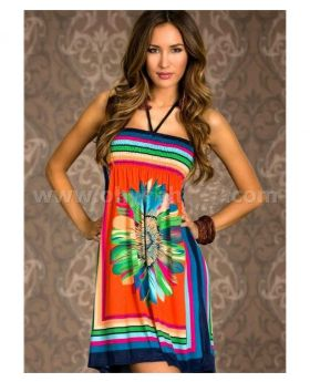 95% Polyester + 5% Spandex Multi Color Beach Dress