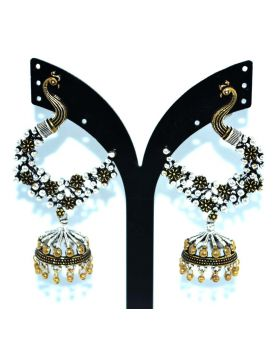 ANTIQUE & SILVER DUEL SHADE PEACOCK DESIGN EARRING WITH JHUMKA FOR WOMEN