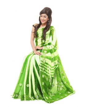 Pure anddy silk with hand embroidery Saree for Women