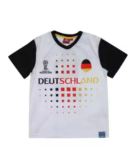 White and Black Cotton Short Sleeve T-shirt For Boys
