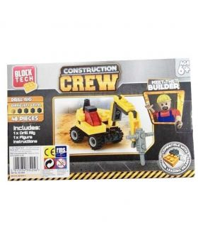 Block Tech Construction Crew Drill Rig Toy