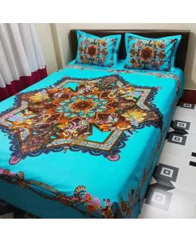 Matching 2pcs Pillow Covers Double Size Cotton Bed Sheet