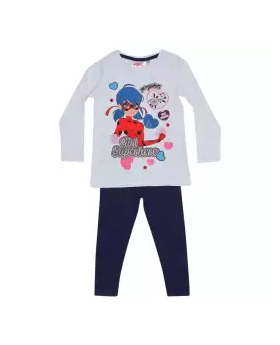White and Blue Long Sleeve Cotton T-shirt and Pant For Girls