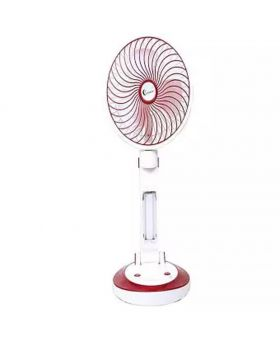 Supermoon Rechargeable Folding Table Fan with Light - Maroon and White
