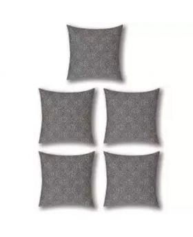 Five Pieces Cushion & Cover Silver Set