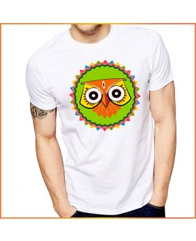 Owl Mask Printed Round Neck & Half Sleeve T-Shirt for Men