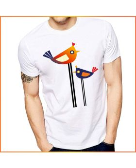 Colorful Bird Printed Half Sleeve T-Shirt for Men
