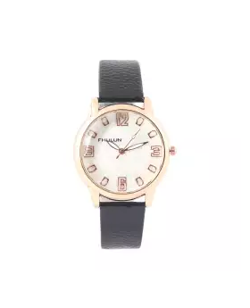 Synthetic Leather Analog Watch for Women - Black