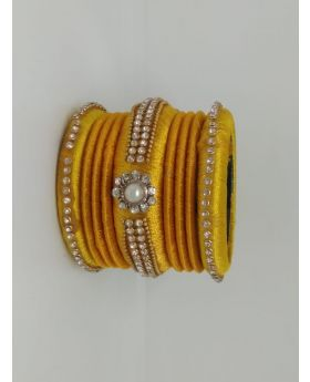 Yellow Color Silk Thread Bangles for Women