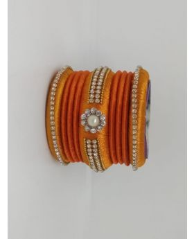Orange Color Silk Thread Bangles for Women