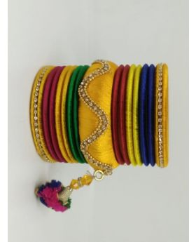 Multicolor Silk Thread Bangles for Women With Jhumka