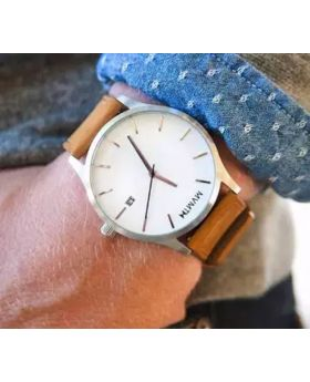 Brown Strap Leather Analog Wrist Watch For men