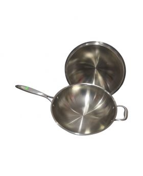 Stainless Steel Frying Pan with Lid Black Handle