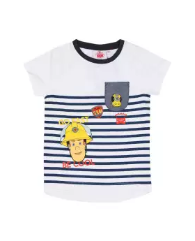 White and Blue Cotton Short Sleeve T-shirt For Boys 07