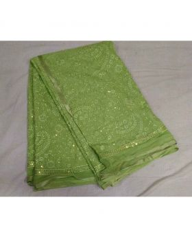 Pakistani Chiffon Georgette Saree- Light Green