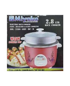 Miyako 2.8 Liter 3IN 1 Rice Cooker - Double Pot (Non-stick) ASL-2280 GRY