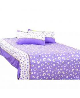 Cotton Double Size Bed Sheet Set with Two Pillow Covers - Light Purple