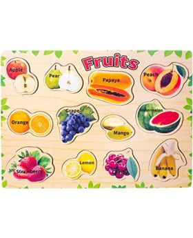 Wooden Puzzle for Toddlers Fruits Peg Jigsaw for Kids