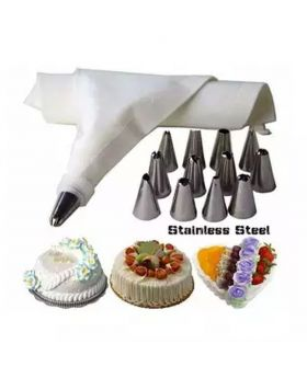 Stainless Steel 12 Pieces Cake Decoration Tools - Silver