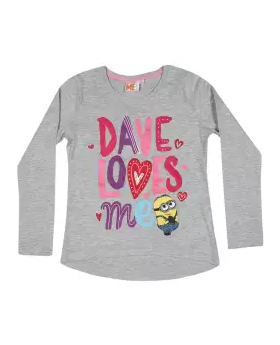 Gray Cotton Long Sleeve T-shirt For Girls 02