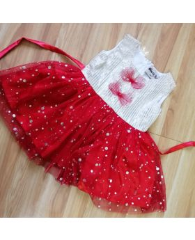 Red & White Party Dress for Baby
