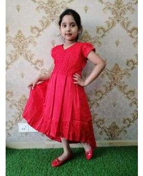 New Red Colur Party Dress For Giels