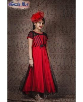 New red color party gown for girls