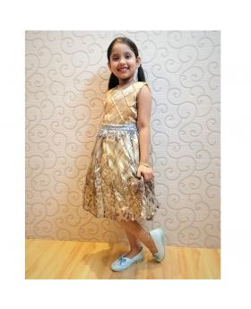 Golden Georgette Party frok for girls