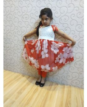 Girls Red  & White colur Party Dress
