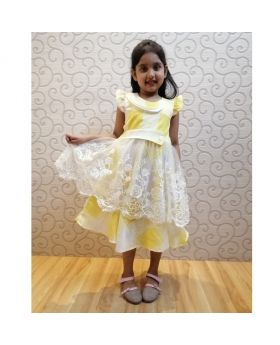 Girls New Yeallow Colur Cotton Party Frok