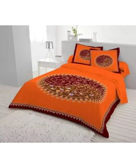 Double Size Cotton Bed Sheet( with Matching Pillow Covers 2 pcs)