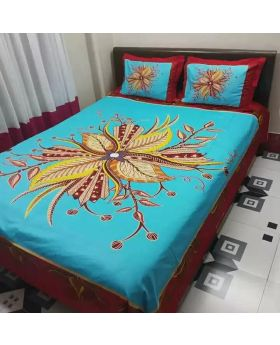 Double Size Cotton Bed Sheet(2 Pillow Covers )