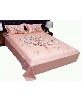 Cotton Bed Sheet Double Size with 2 Pillow Covers