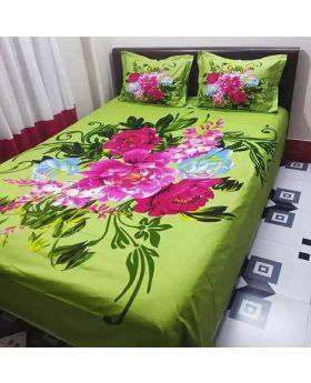 Double Size Cotton Bed Sheet 2 Pillow Covers Matching