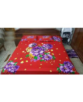 Double Size Cotton Bed Sheet with Matching 2 pcs Pillow Covers - Multicolor