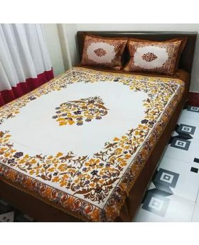 Double Size Cotton Bed Sheet  Matching 2 Pillow Covers