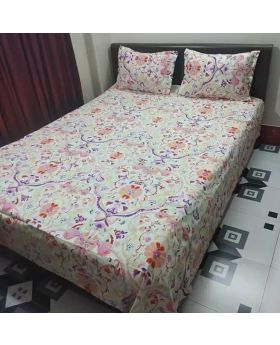 Multicolor Cotton Bed Sheet double size with Pillow Covers