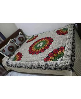 Double Size Cotton Bed Sheet with Matching 2 cs