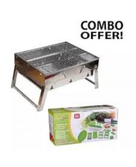 Outdoor Portable BBQ Stove and Nicer Dicer Plus - Silver