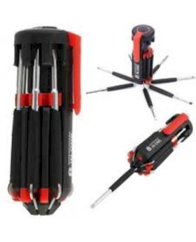8-In-1 Multipurpose Screwdriver With Torch Light - Black and Red