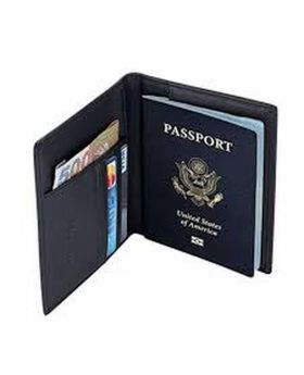 Leather Passport Cover Holder - Black