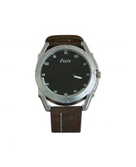 Fizix EW0015 Stainless Steel Chocolate Colored Leather  Belt Automated Mens Watch
